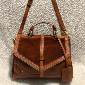 Tory Burch Suede/Leather Messenger Bag.
